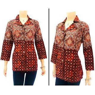DBT2560 - Baju Bluse Batik Wanita Terbaru 2013