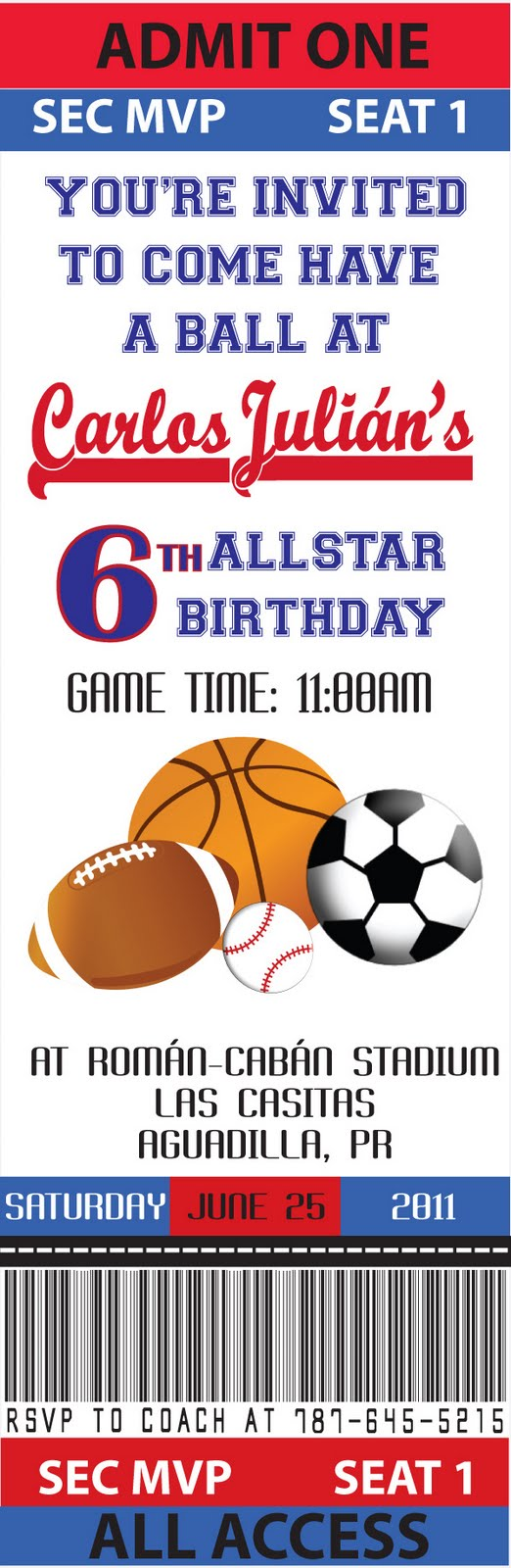 Partylicious All Star Birthday – Sports Ticket Invitation Template Free