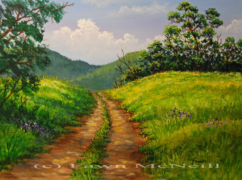 Fawn 39 s paintings little lane mountain landscape for Landscape paintings for beginners