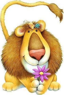 león con flor
