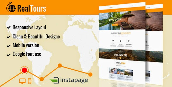 Landing page template for Travel