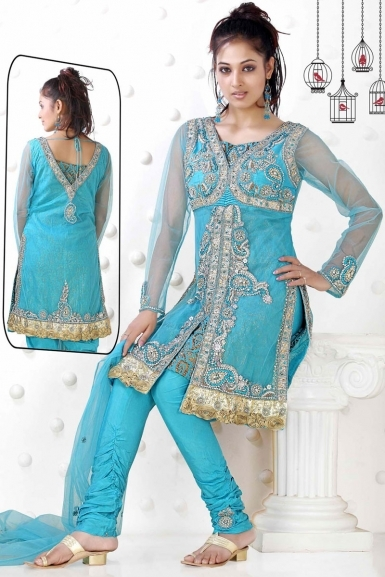 Fantastic Light Blue Color Salwar Kameez Front And Back Side For Wedding