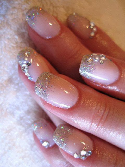 gel backfill, silver glitz and crystal feats Nail Art Design