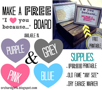 """I love you because"" Board + FREE Printable"