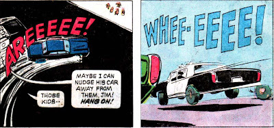 Adam-12 #2 panels: first story siren:'Areeeee', second story siren: 'Whee-eeee'