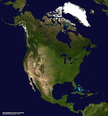 Vista satelital de America del Norte