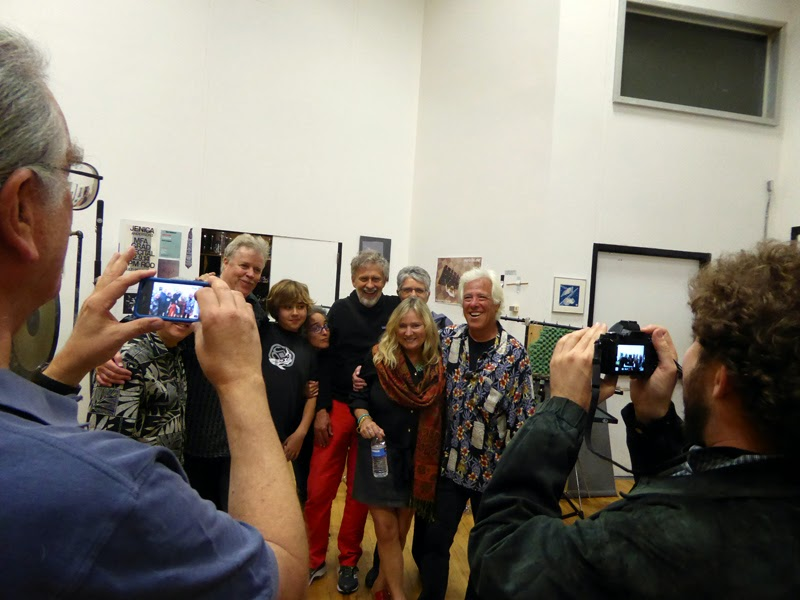 People taking pictures of other people after CalArts Tribute concert to John Bergamo - Jim and Marilynn and Robert Hildebrandt, Larry and Karen Stein, Gregg Johnson, Viven Buentiempo-Johnson, Ravi Johnson, Charles Levin, John Steinmetz - you figure it out