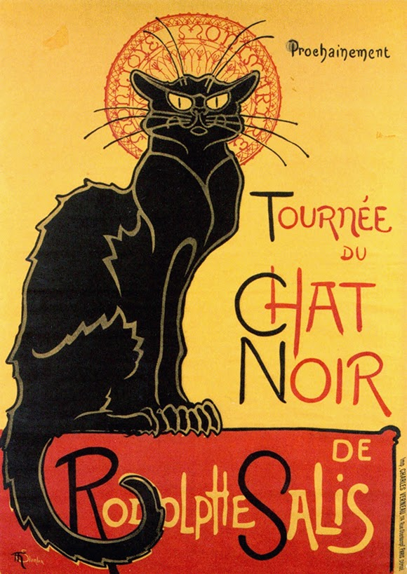 advertising, classic posters, free download, free posters, free printable, graphic design, printables, retro prints, vintage, vintage posters, vintage printables, cat, wildlife, Tournée du Chat Noir - Vintage Poster