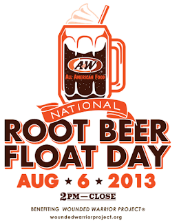 free root beer floats at a&w august 6th
