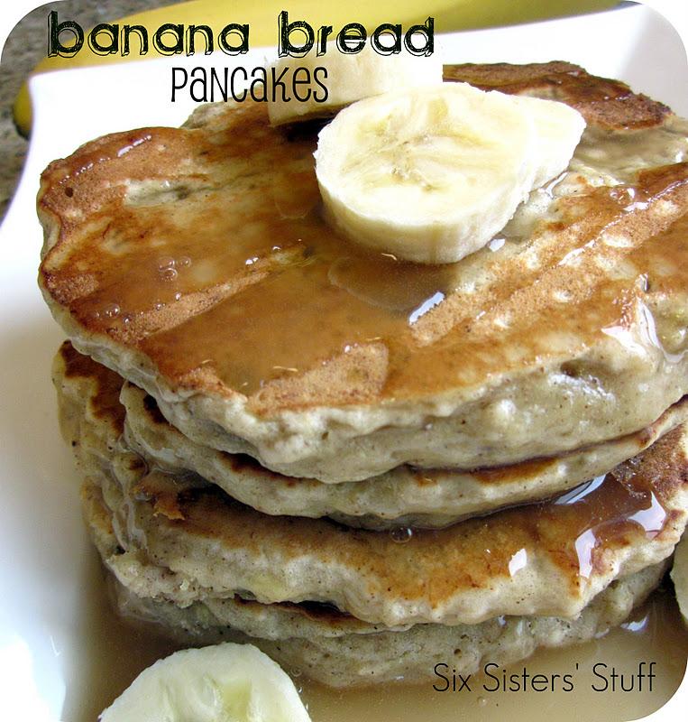 Banana Bread Pancakes Recipe with Vanilla Maple Glaze | Six Sisters ...