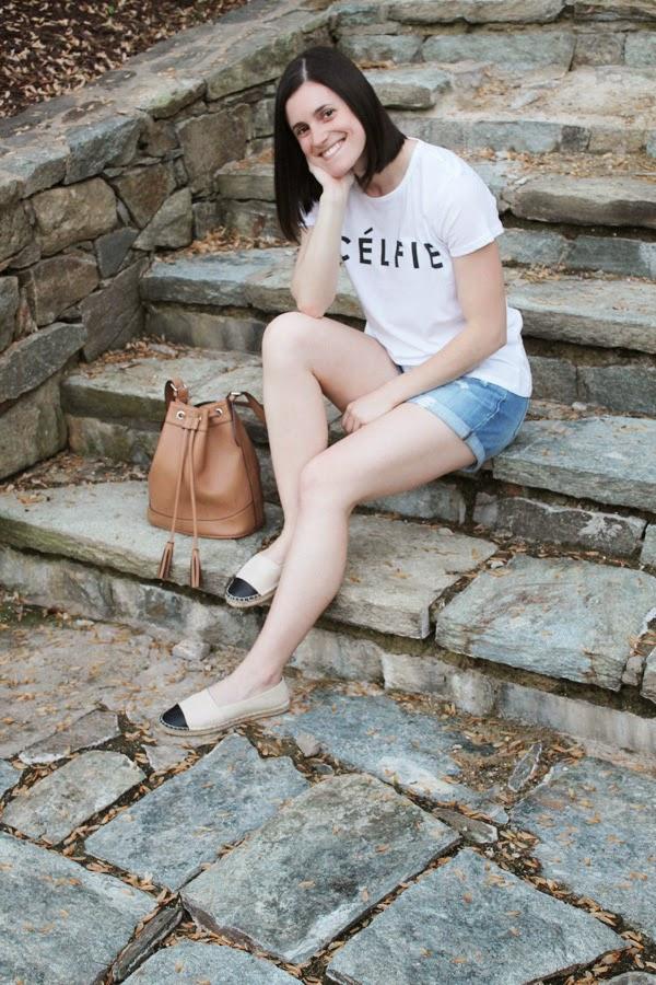 My style, Celfie, Target Celfie tee, Old Navy denim shorts, Target Espadrilles, Target Espadrille flats, bucket bag
