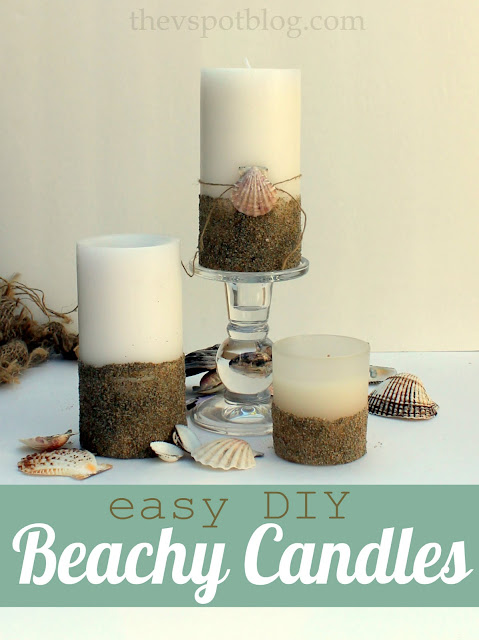 Easy coastal decor - make beach inspired candles with sand and glue.