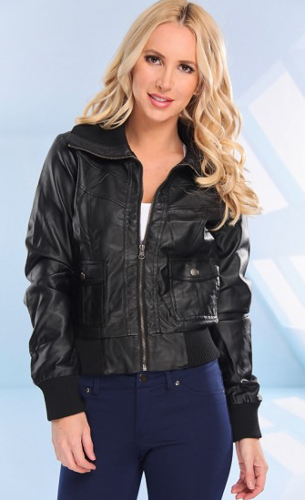 BLACK FAUX LEATHER LONG SLEEVES ZIPPERED JACKET
