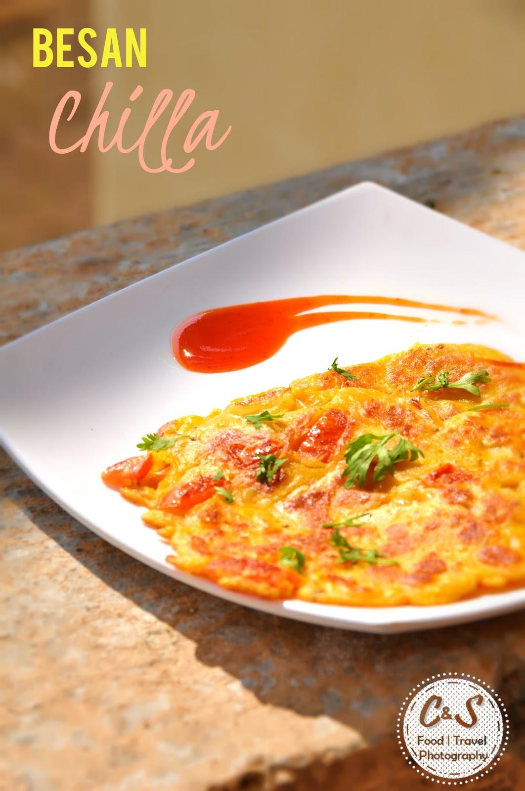 Besan ka Chilla or Vegetarian Omlette