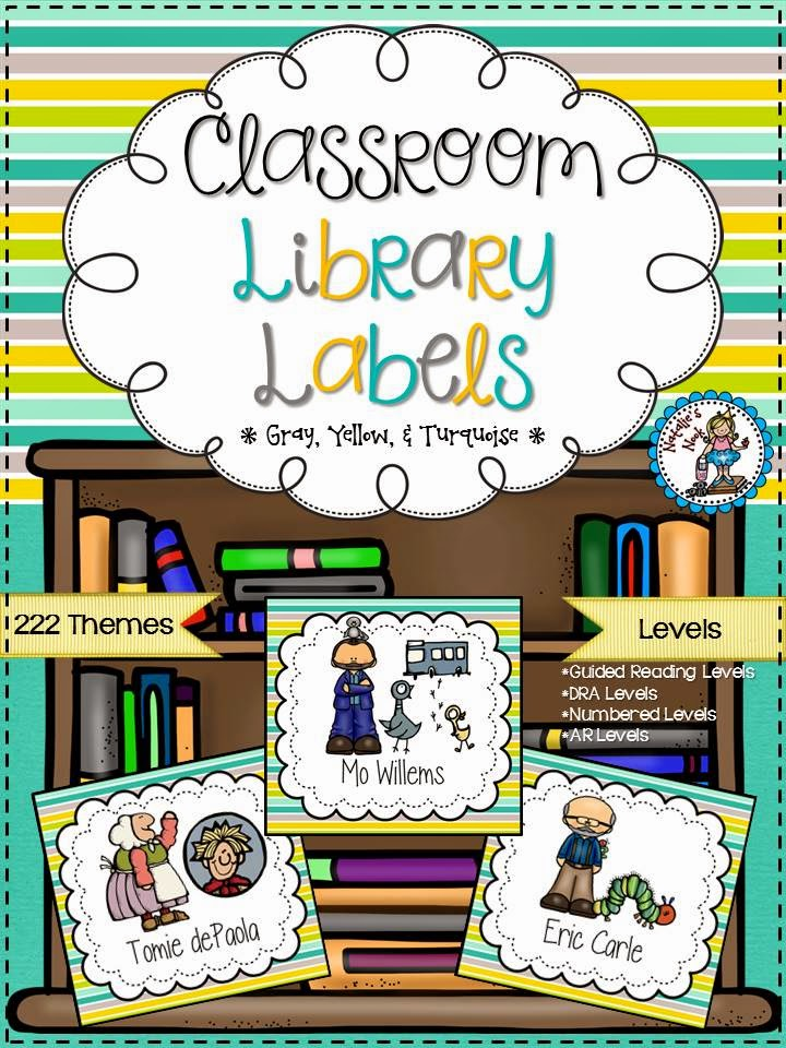 http://www.teacherspayteachers.com/Product/Classroom-Library-Labels-Gray-Yellow-and-Turquoise-1297791