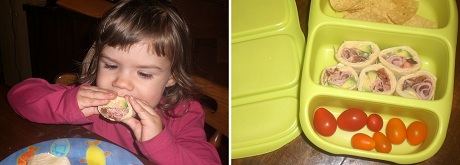 Two year old eating Tortilla Sushi, Lunchbox with Sushi Roll Ups