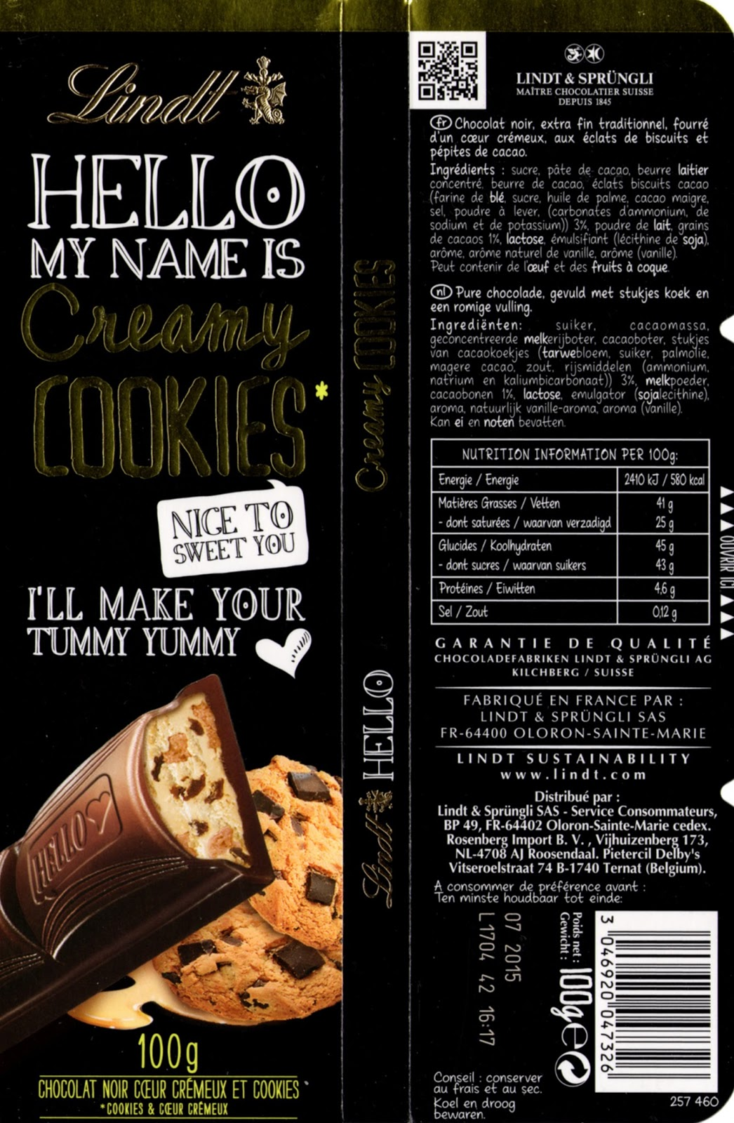 tablette de chocolat noir fourré lindt hello my name is creamy cookies