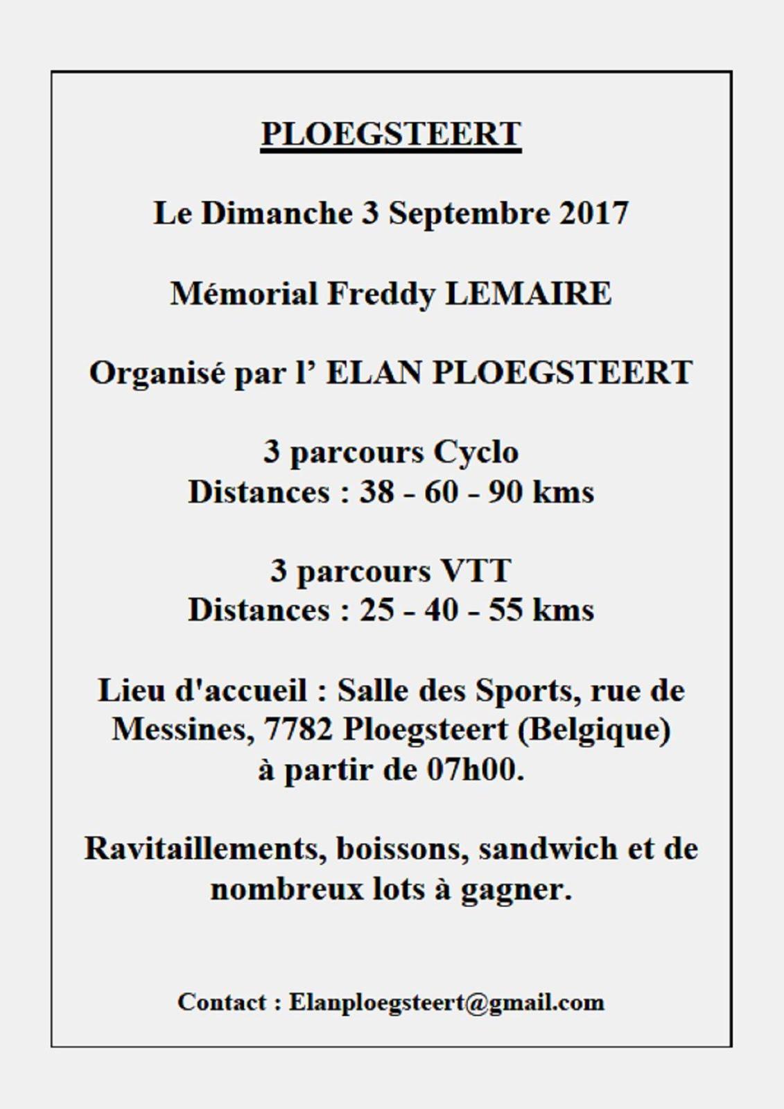 Dimanche 3 septembre Mémorial Freddy Lemaire