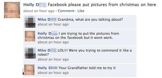 Funny Grandma Facebook Status Fail