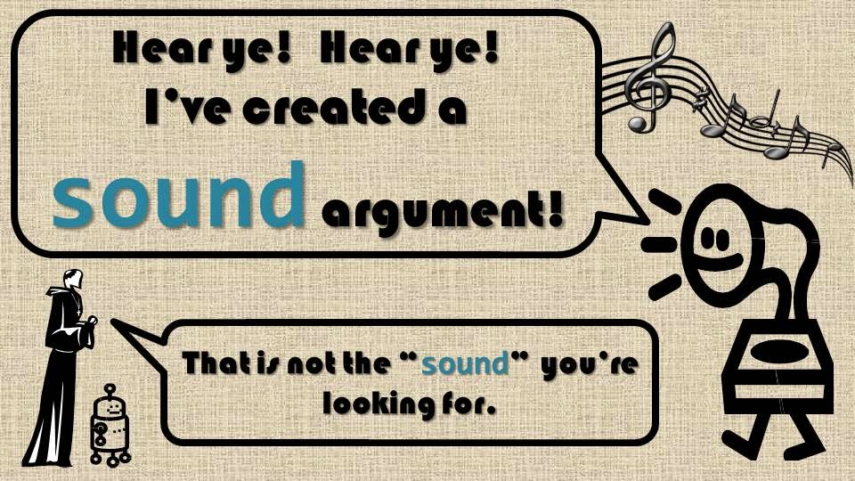 "A phonograph says ""I've created a sound argument,"" while a man in a robe and a little robot stand to the side, saying, ""That is not the 'sound' you're looking for."""