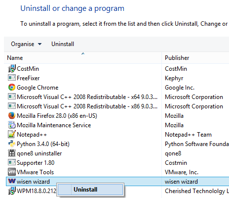 How to remove Wisen Wizard from the Windows Control Panel