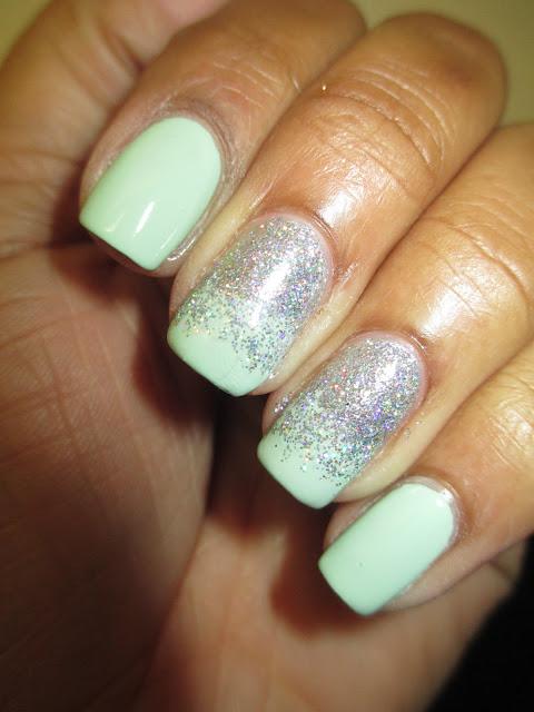 Sally Hansen, Min Sorbet, holo glitter, ombre, nails, nail art, nail design, mani