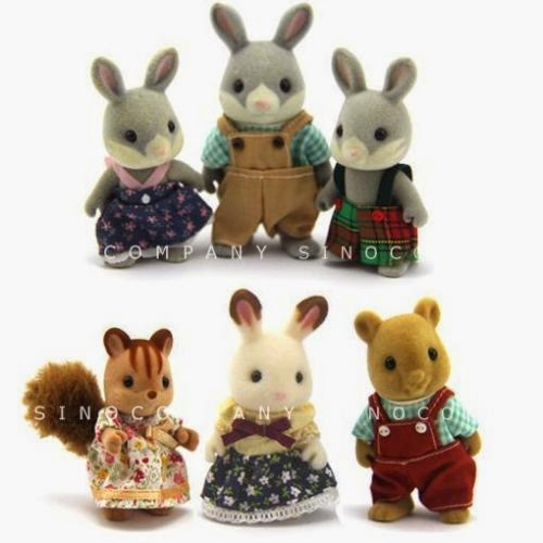 Lot 6 Sylvanian Families bear rabbit squirrel Series 3'' Dolls figure M323