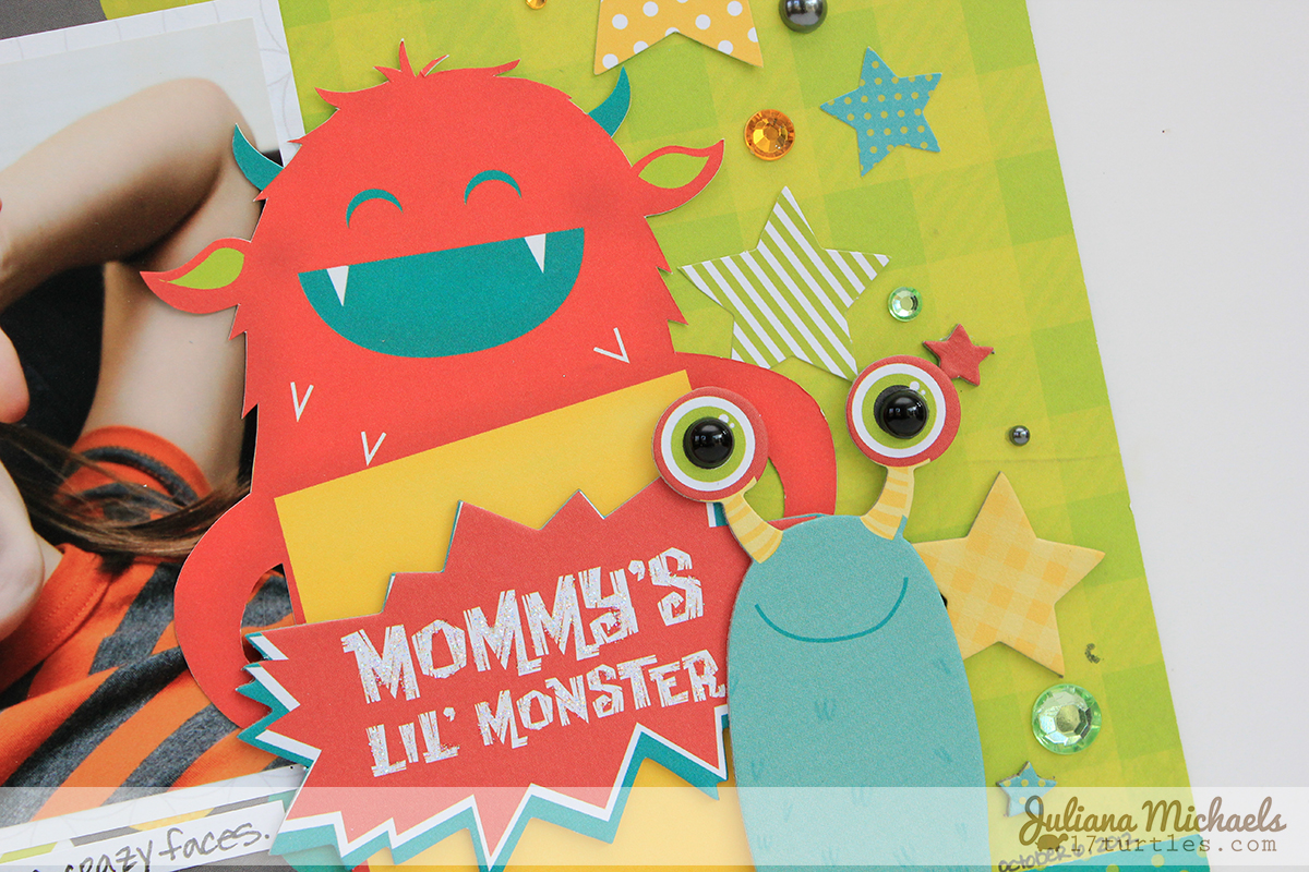 Mommy's Little Monster Scrapbook Page detail by Juliana Michaels using BoBunny's Our Lil' Monster collection