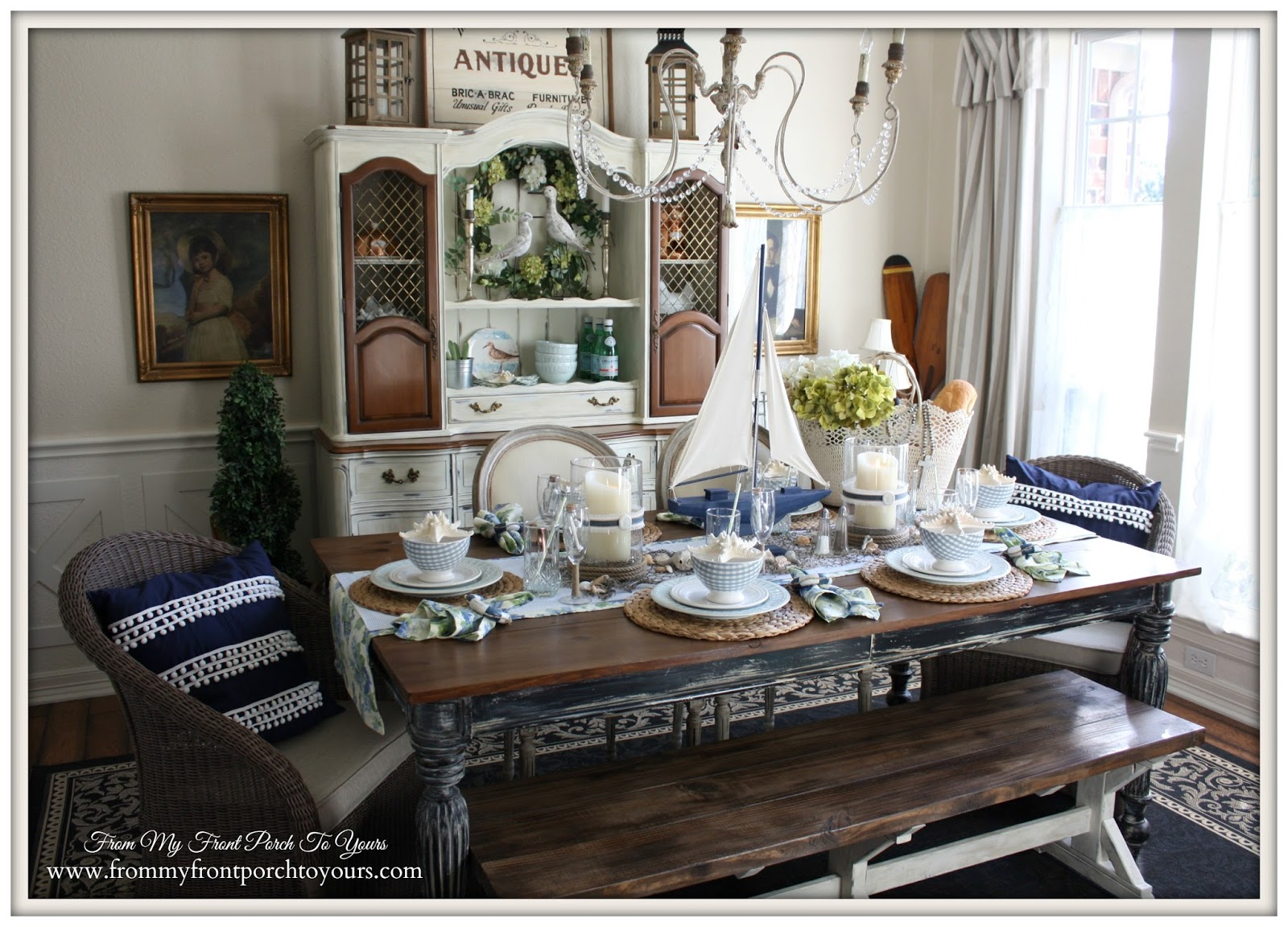From My Front Porch To Yours French Farmhouse Nautical  : nauticaldiningroomfulltableIMG3739 from www.frommyfrontporchtoyours.com size 1600 x 1152 jpeg 372kB