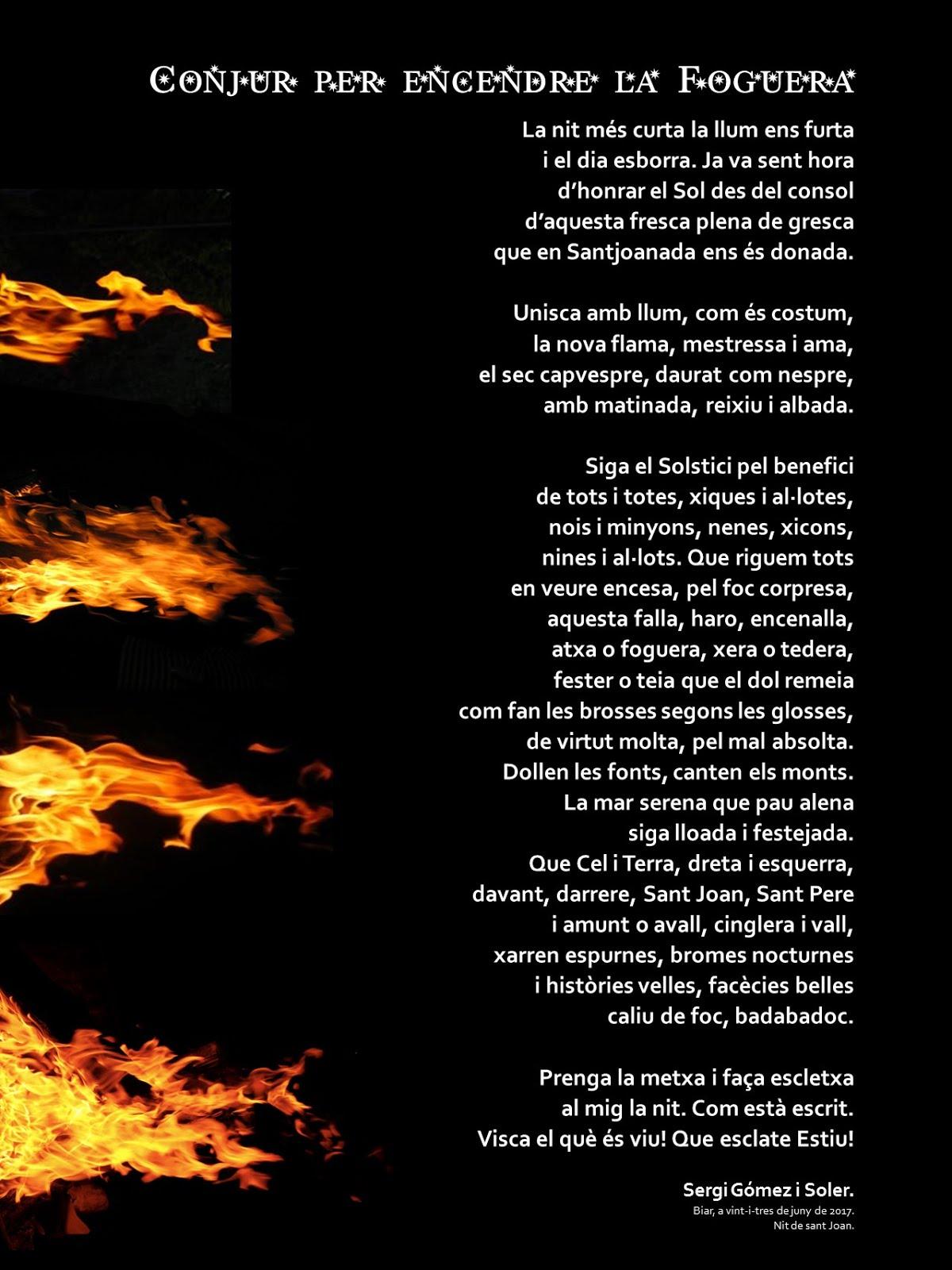 Conjur per encendre fogueres de Sant Joan