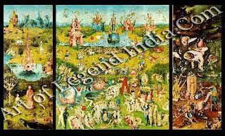 "The Great Artist Hieronymus Bosch Painting Gallery ""The Garden of Earthly Delights"" c.7500-10 Central panel 86 ½"" x 76 ¾"", wings 86 ½ x 38 ¼"" Prado, Madrid"