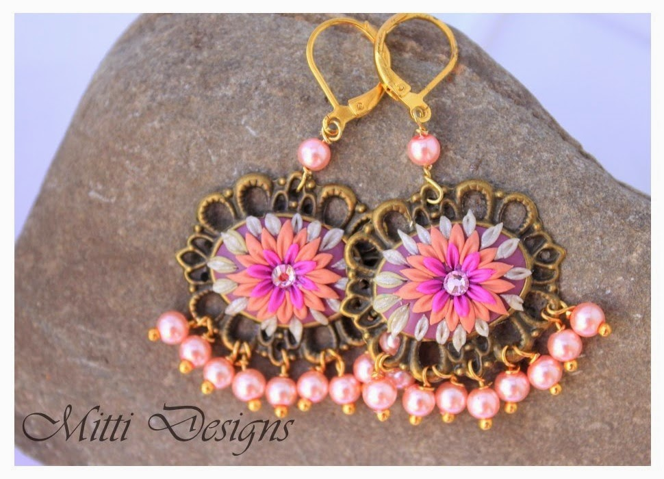 Earrings, Indian Inspired, embroidery, polymer clay, handmade, mitti designs, rachana saurabh, spring flowers, flower earrings, Fall earrings, autumn