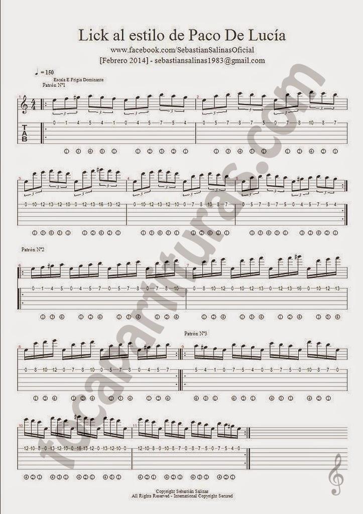 Tablatura del Lick al estilo de Paco de Lucía Ejercicio para Guitarra Tablature guitar shee music