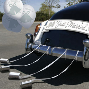 Just married kyltti autoon