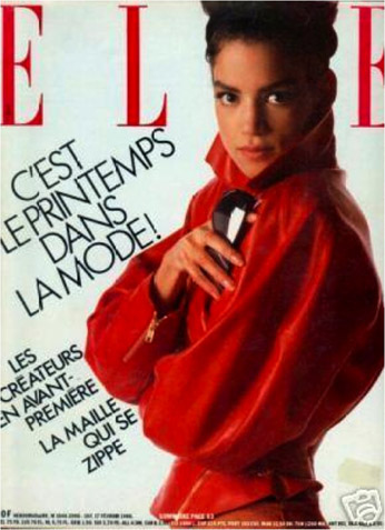 veronica webb, elle magazine, red jacket, french elle, black supermodels, american supermodels, 90s supermodels