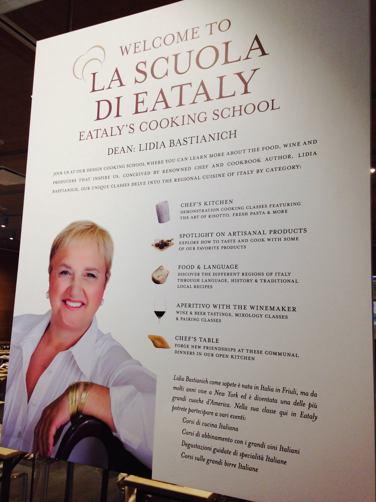 the cooking school is located on the second floor of eataly and offers demo style classes ranging from how to make fresh pasta or risotto wine tastings