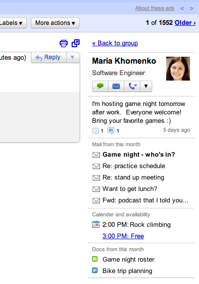 Beispiel Screenshot Google Mail Kontakte Widget