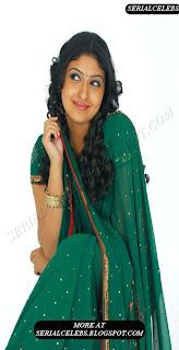 Mounika in green low hip saree