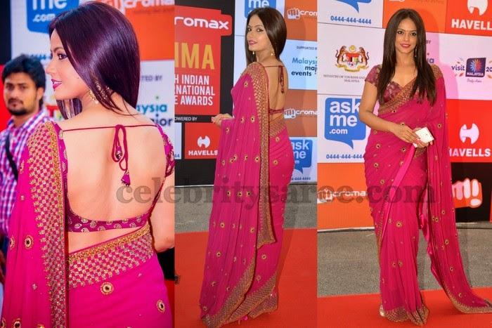 Neetu Chandra Pink Designer Saree