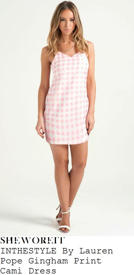 lauren-pope-pink-and-white-gingham-sleeveless-mini-dress