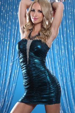TEAL STRAPLESS RHINESTONE DECOR METALLIC SEXY MINI DRESS