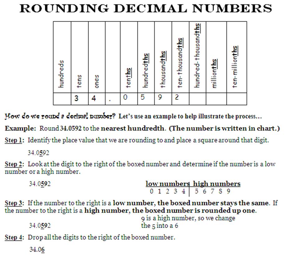 round decimals worksheet