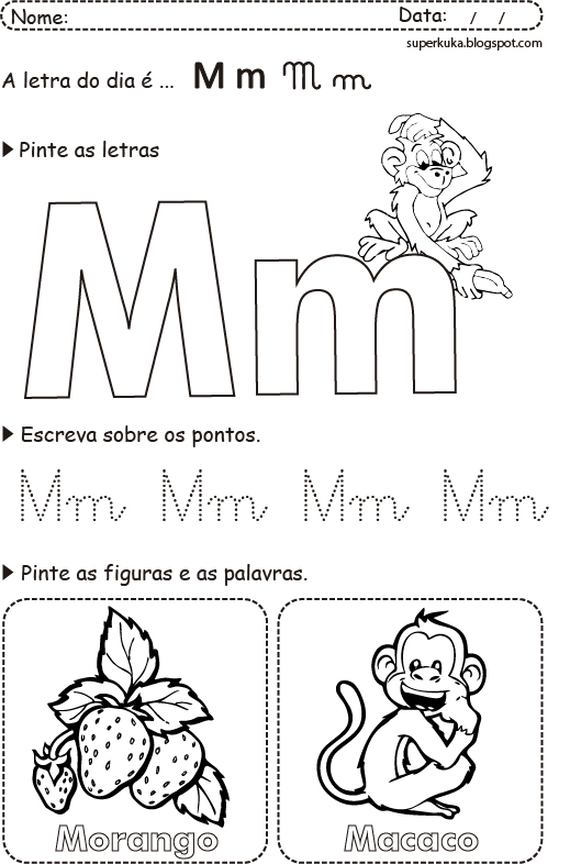 Letra m para colorir - Imagui