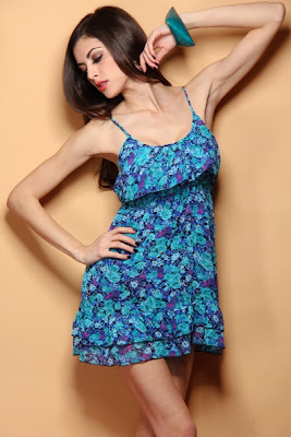 TEAL FLORAL PRINT RUFFLY TRIM SEXY MINI DRESS