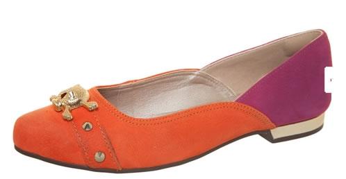Sapatilha Dakota caveira laranja e roxo