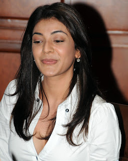 Kajal Aggarwal Spicy Tight White Top with Deep Neckline