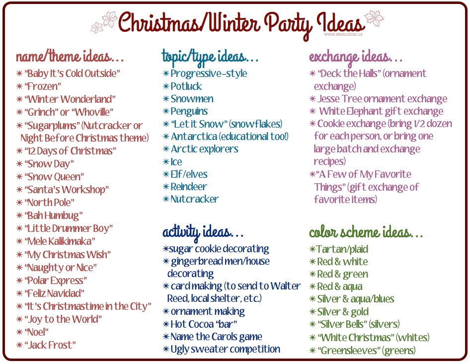 during this season you might be hosting a party i know i love hosting do you below is a list of possible christmaswinter party themes in case youre