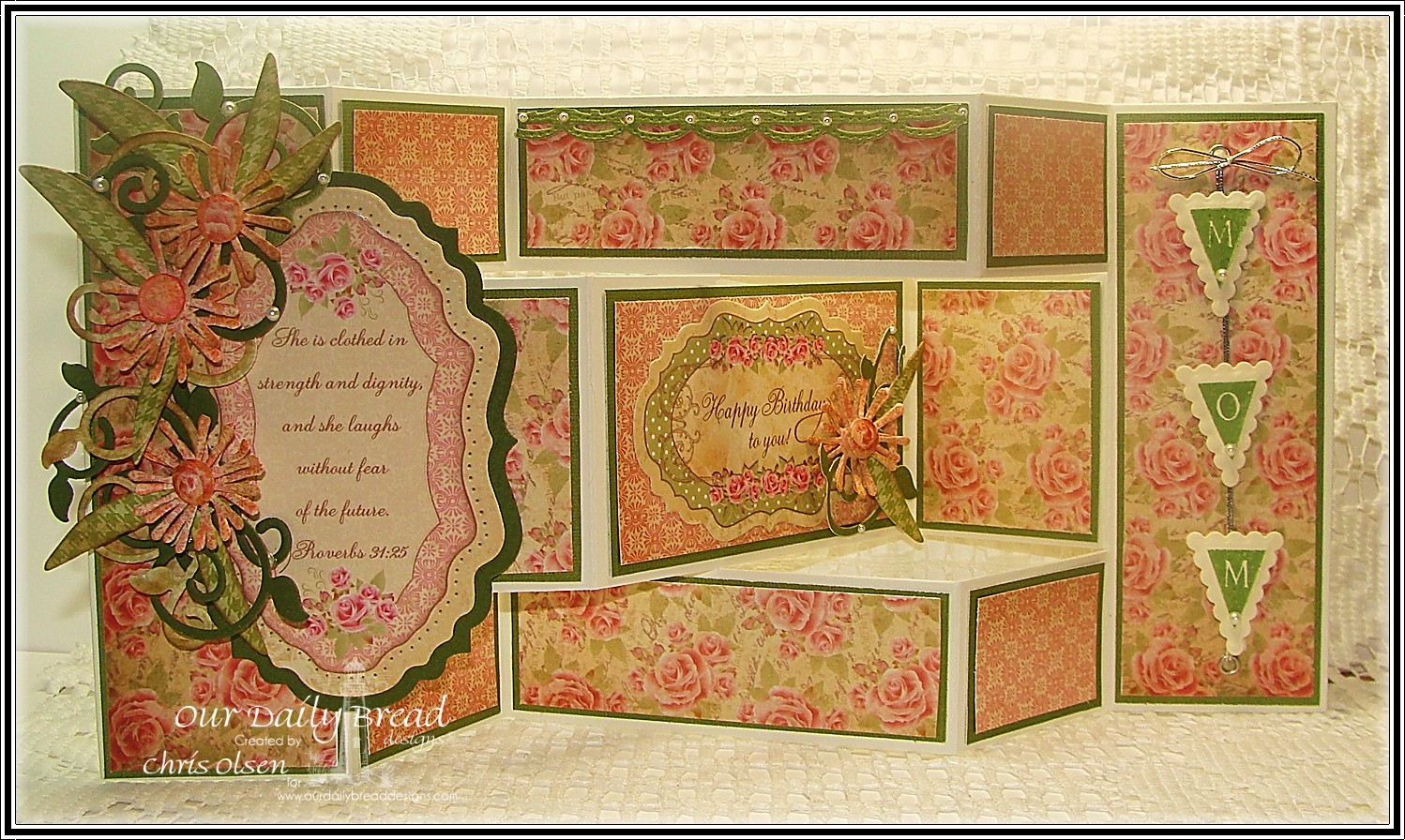 Stamps - Our Daily Bread Designs Pennant Alphabet Solid, ODBD Blushing Rose Paper Collection, ODBD Custom Asters and Leaves Die, ODBD Custom Fancy Foliage Dies, ODBD Custom Vintage Flourish Pattern Die, ODBD Custom Pennants Die, ODBD Tri-Shutter Fancy Folds Card Kit