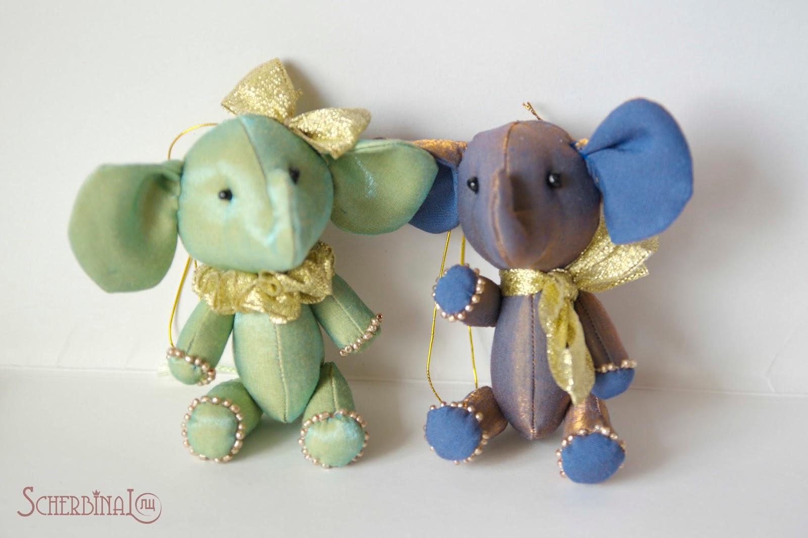 мини слоники, игрушки на ёлку своими руками