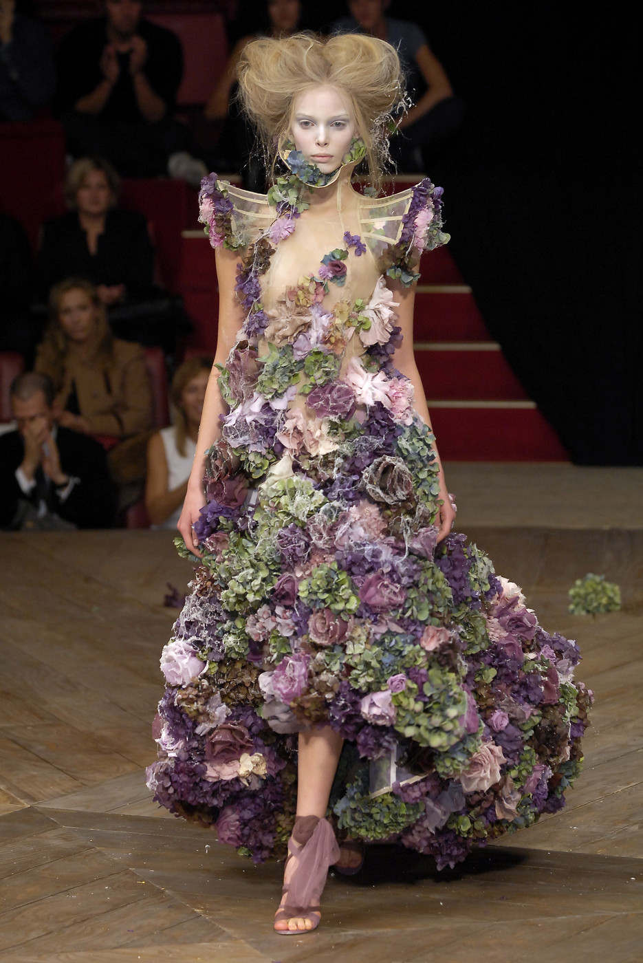 "Tania Dzyagileva wearing Alexander McQueen dress made of frozen flowers from the ""Sarabande"" Spring/Summer 2007 collection"